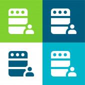 Administrator Flat čtyři barvy minimální ikona nastavena