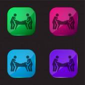 Air Hockey čtyři barvy skleněné tlačítko ikona