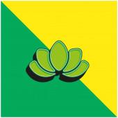 Krásná Lotus Flower Zelená a žlutá moderní 3D vektorové ikony logo