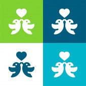 Madarak Lapos négy szín minimális ikon készlet