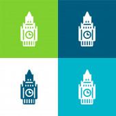 Big Ben Flat čtyři barvy minimální ikona nastavena