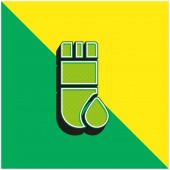 Blood Test Zelené a žluté moderní 3D vektorové logo