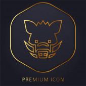 Vaddisznó arany vonal prémium logó vagy ikon