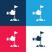 Úspěch modrá a červená čtyři barvy minimální ikona nastavena