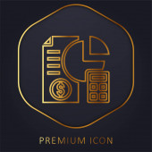 Analýza zlaté čáry prémie logo nebo ikona