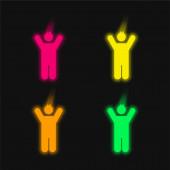 Junge mit erhobenen Armen vierfarbig leuchtende Neon-Vektorsymbol