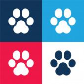 Animal Track kék és piros négy szín minimális ikon készlet
