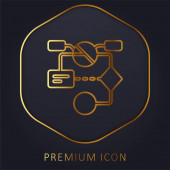 Algorithm golden line premium logo or icon