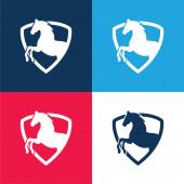 Black Horse Part In A Shield obrys modrá a červená čtyři barvy minimální ikona sada