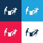 Boss Office blau und rot vier Farben minimales Symbol-Set