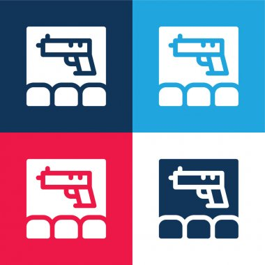 Action Movie blue and red four color minimal icon set stock vector