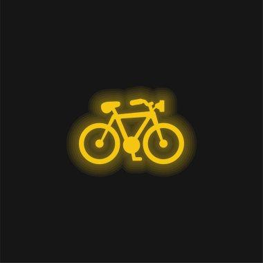 Bike Shape yellow glowing neon icon