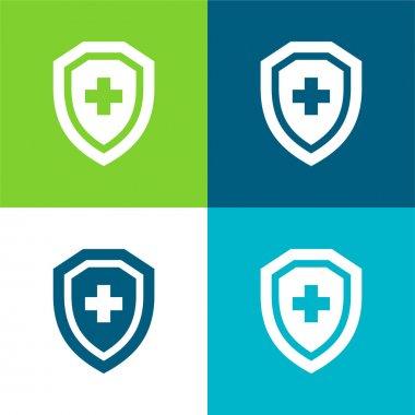 Antivirus Flat four color minimal icon set stock vector