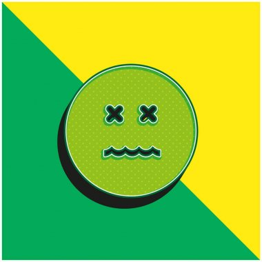 Annulled Emoticon Square Face Green and yellow modern 3d vector icon logo
