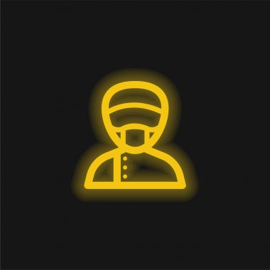 Assistant yellow glowing neon icon stock vector