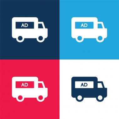 AD Van blue and red four color minimal icon set stock vector