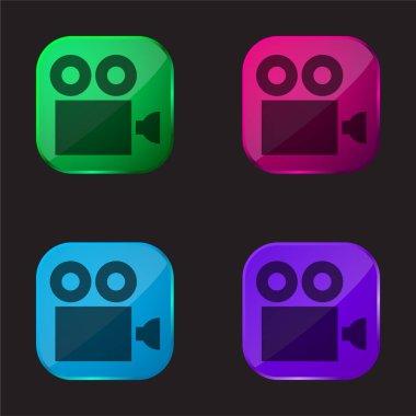 Antique Cinema Camera four color glass button icon stock vector