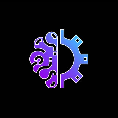Brain blue gradient vector icon stock vector