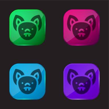 Bat four color glass button icon stock vector