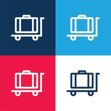 Baggage On Platform Cart Outline blue and red four color minimal icon set