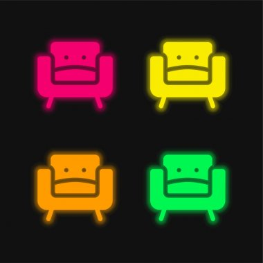 Armchair four color glowing neon vector icon stock vector