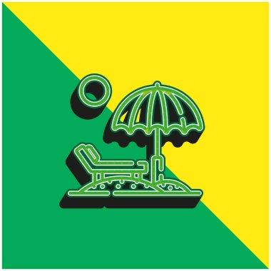 Beach Green and yellow modern 3d vector icon logo stock vector