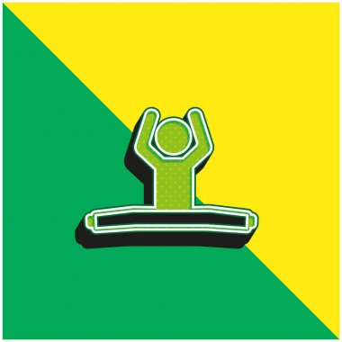 Boy Sitting With Stretch Legs And Arms Up Green and yellow modern 3d vector icon logo stock vector