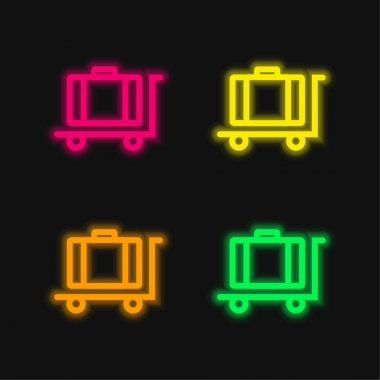 Baggage On Platform Cart Outline four color glowing neon vector icon