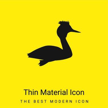 Bird Grebe Shape minimal bright yellow material icon stock vector