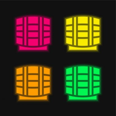 Beer Keg four color glowing neon vector icon stock vector