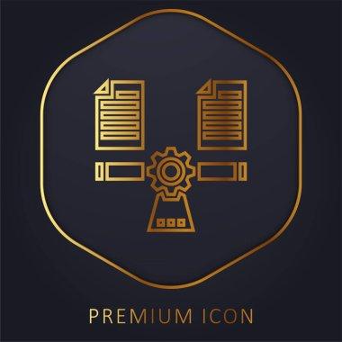 Balancing golden line premium logo or icon stock vector