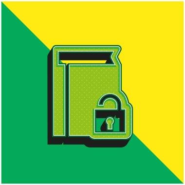 Book Protection Green and yellow modern 3d vector icon logo stock vector