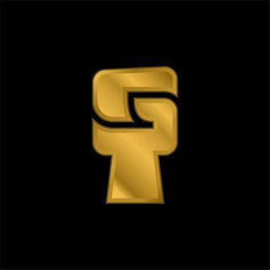 Black Power gold plated metalic icon or logo vector stock vector