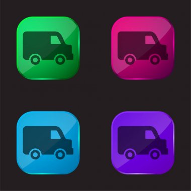 Black Delivery Small Truck Side View four color glass button icon stock vector