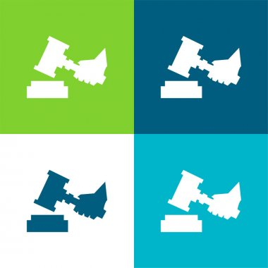 Auction Flat four color minimal icon set stock vector
