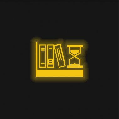 Books And Sand Clock yellow glowing neon icon stock vector