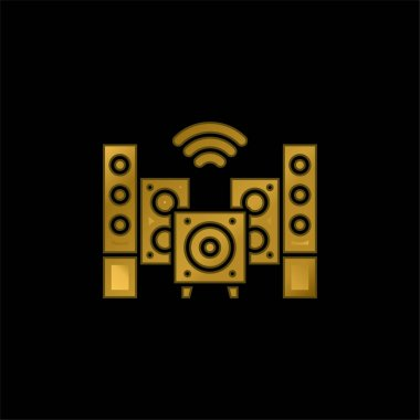 Audio gold plated metalic icon or logo vector stock vector