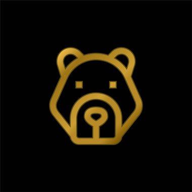 Bear gold plated metalic icon or logo vector stock vector