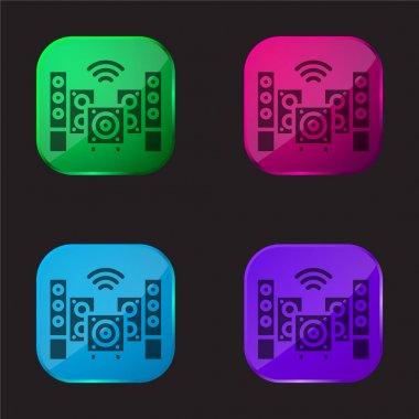 Audio four color glass button icon stock vector