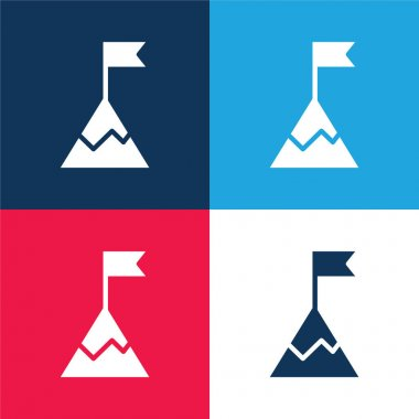 Achievement blue and red four color minimal icon set stock vector