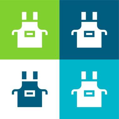 Apron Flat four color minimal icon set stock vector