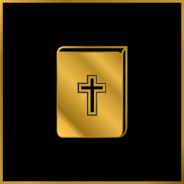 Bible With Cross Sign In Front gold plated metalic icon or logo vector stock vector