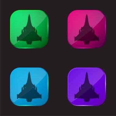 Airplane Black Shape four color glass button icon