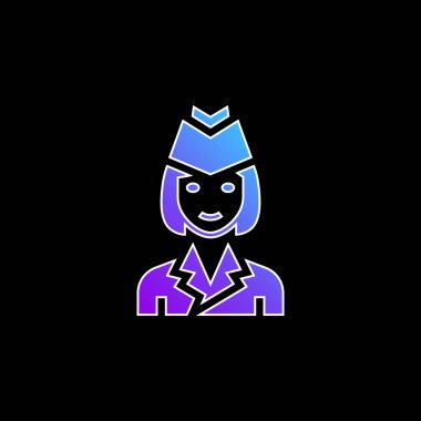 Air Hostess blue gradient vector icon stock vector