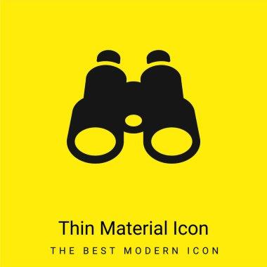 Binoculars minimal bright yellow material icon stock vector