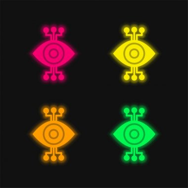 Bionic Eye four color glowing neon vector icon