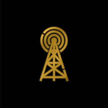 Antenna gold plated metalic icon or logo vector stock vector