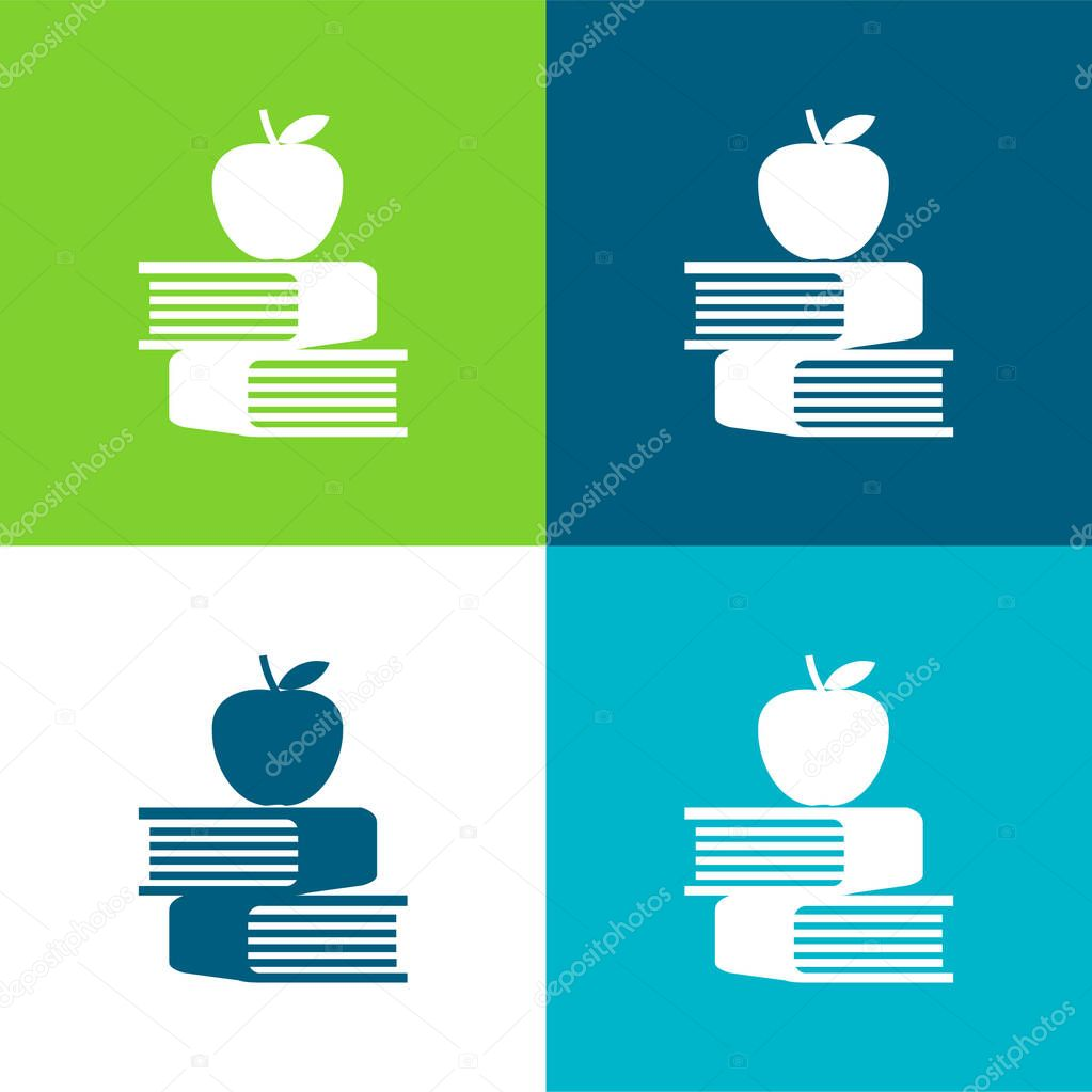 Apple And Books Flat four color minimal icon set stock vector