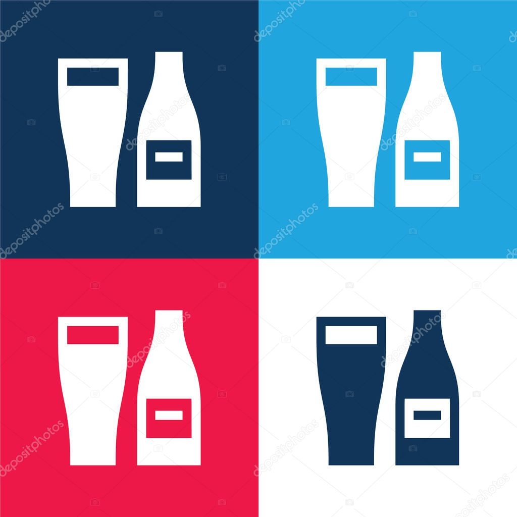 Beer blue and red four color minimal icon set stock vector