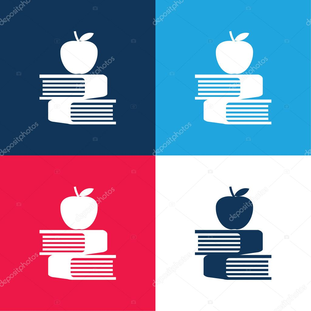 Apple And Books blue and red four color minimal icon set stock vector
